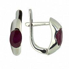 Серебряные серьги Зафира с рубинами