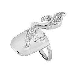 Серебряное кольцо-ноготь с цирконием 000028091