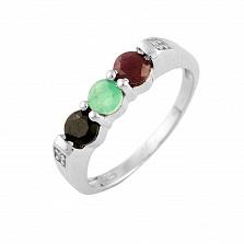 Серебряное кольцо Зузанна с изумрудом, рубином, сапфиром и фианитами