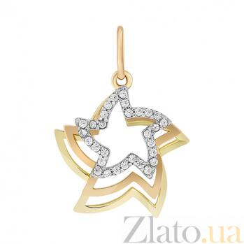 Золотой подвес с фианитами Звездный час 000023732