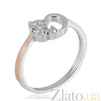 Серебряное кольцо с золотой вставкой Сердечко сердечко