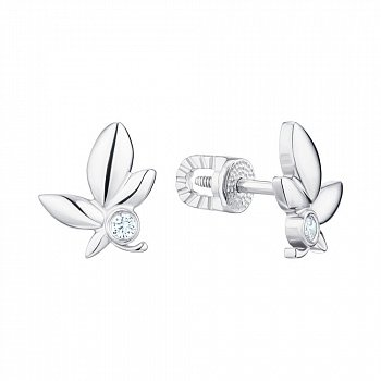 Серебряные сережки-пусеты с фианитами 000150595
