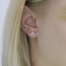 Серебряные серьги-пуссеты Мириам с золотыми накладками и фиолетовым цирконием