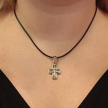 Серебряный крестик Праведность с позолотой и чернением