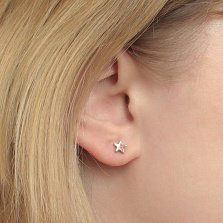 Серьга-пуссета в одно ухо Звезда из белого золота