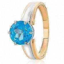 Золотое кольцо Гарнет с голубым топазом