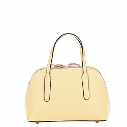 Миниатюрная кожаная сумка Genuine Leather 8672 желтого цвета на кулиске, с металлическими ножками