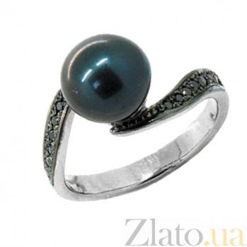 Золотое кольцо в белом цвете с чёрными бриллианиами и жемчугом Войс 000021385