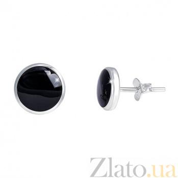 Серебряные серьги с ониксом Сузия AQA--3210098O