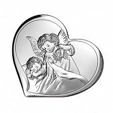 Католическая икона Ангел-Хранитель на деревянной подложке, 8х7,3см
