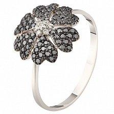 Золотое кольцо Глоксиния с черными бриллиантами