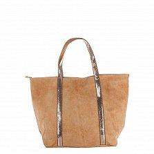 Замшевая сумка на каждый день Genuine Leather 8003 кофейного цвета на молнии с пайетками