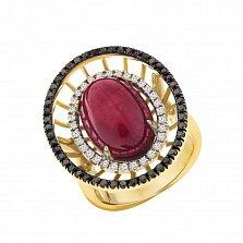 Золотое кольцо Фамильная ценность с крупным рубином и черными и белыми бриллиантами