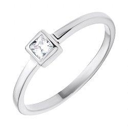 Серебряное кольцо с белым фианитом 000112697