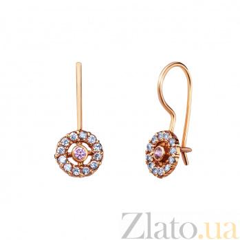 Золотые сережки Эмилия с фианитами AQA--С0122Р