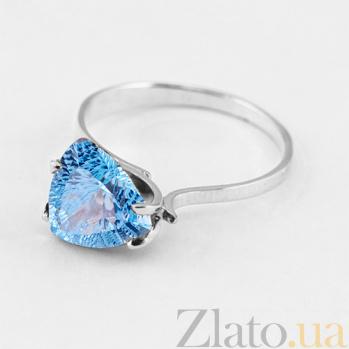 Золотое кольцо Сандра с голубым топазом в белом цвете 000024449
