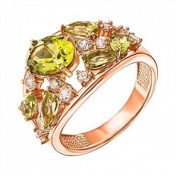 Кольцо из красного золота с хризолитами и фианитами 000137282