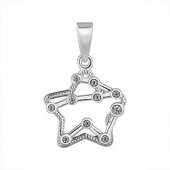 Підвіска зі срібла Знак Зодіаку Водолій з фіанітами 000148204