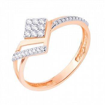 Золотое кольцо с дорожками и белыми фианитами 000095894