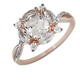 Кольцо из красного золота Невеста с кварцами и бриллиантами