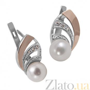 Серебряные серьги Пчелка с золотом, жемчугом и фианитами BGS--227с