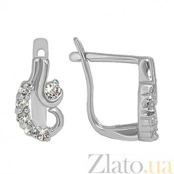 Серебряные серьги с фианитами Вдохновение 10030013