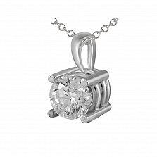 Золотой кулон Мистрисс в белом цвете с бриллиантом в четырех крапанах
