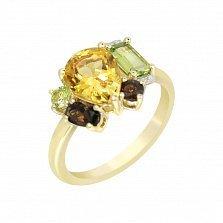 Кольцо в желтом золоте Морро с цитрином, раухтопазами, хризолитами и бриллиантами