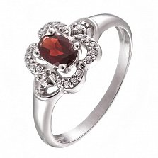 Серебряное кольцо с гранатом и фианитами Эмми