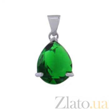 Серебряный кулон с зеленым цирконием AQA--230530073/9G