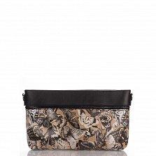 Кожаный клатч Genuine Leather 1001 цвета тауп с принтом и карманом на молнии