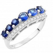 Серебряное кольцо Анима с синтезированными сапфирами и фианитами