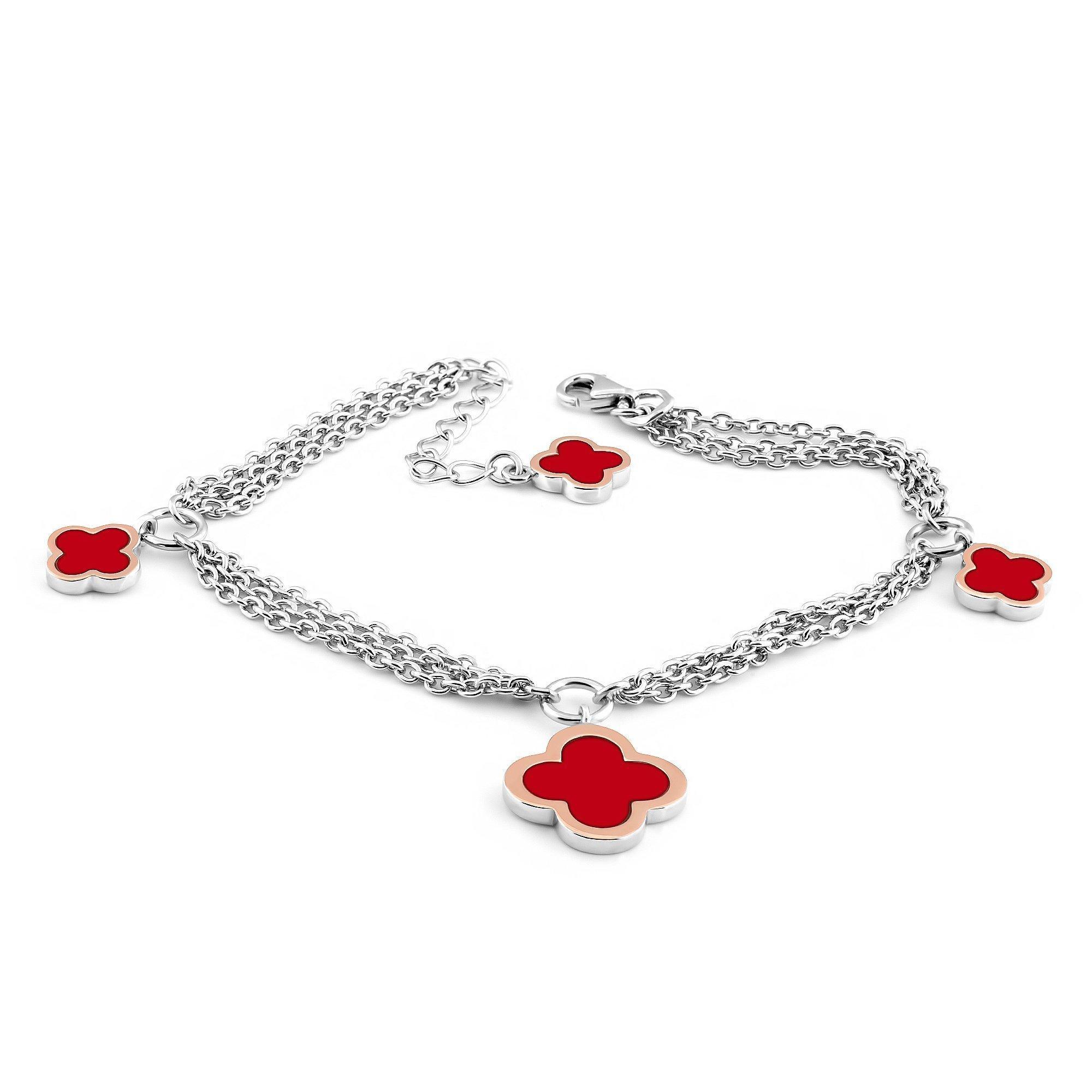Серебряный браслет Марлена с золотыми накладками и красной эмалью