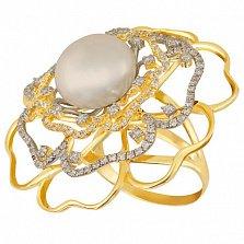 Кольцо из желтого золота с жемчугом и фианитами Актиния