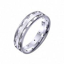 Золотое обручальное кольцо Бренд с цирконием