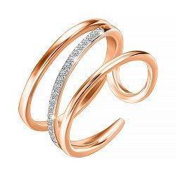 Серебряное кольцо с позолотой и фианитами 000052237