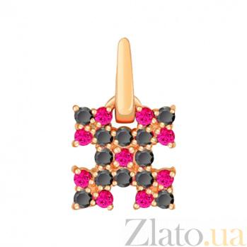 Золотой подвес с фианитами Народный орнамент в красном цвете 000022999