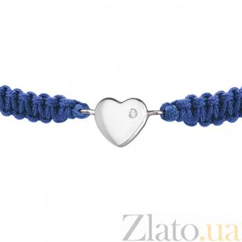 Детский плетеный браслет Люблю тебя с cеребряной вставкой и фианитом, 8-8см 000080647