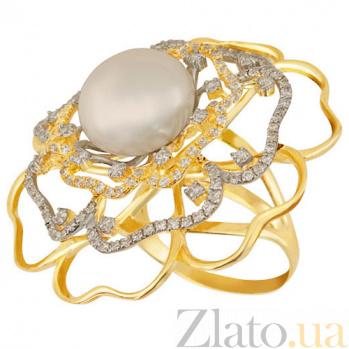 Кольцо из желтого золота с жемчугом и фианитами Актиния VLT--TT1196