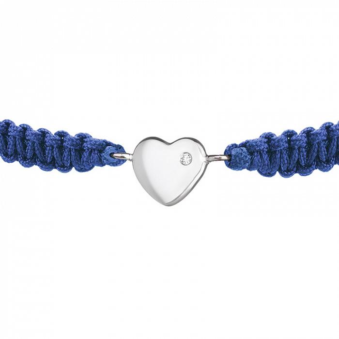 Синий детский плетеный браслет Люблю тебя с cеребряной вставкой-сердцем и фианитом, 8х8см 000080647