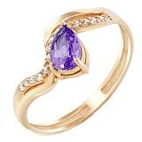 Золотое кольцо Илана с аметистом и фианитами