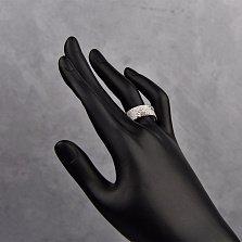 Серебряное кольцо Подсолнухи с красными и белыми фианитами