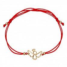 Шелковый браслет Ангелочек в желтом золоте