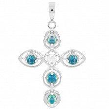 Серебряный крестик София с голубым опалом и фианитами