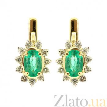 Золотые серьги с бриллиантами и изумрудами Малинка ZMX--BE-93y_K