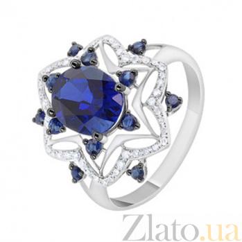 Золотое кольцо с сапфирами и бриллиантами Барбара KBL--К1060/бел/сапф