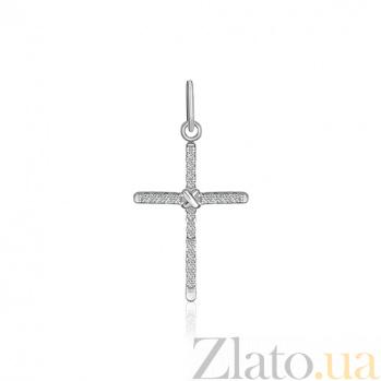 Серебряный крестик с фианитами Павлина 000025295