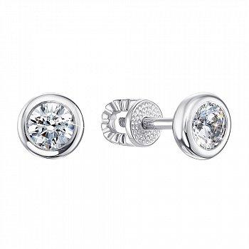 Серебряные серьги-пуссеты с завальцованными фианитами 000106890