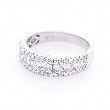 Золотое кольцо Аурелия в белом цвете с дорожками бриллиантов
