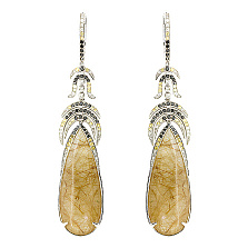 Золотые серьги с бриллиантами, жёлтыми сапфирами и рутиловым кварцем Calliope